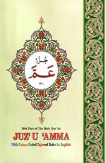 Juz Amma with Tajweed Rules (Persian script, colored background)